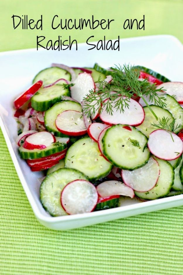 Summer Salad Recipes - Dilled Cucumber and Radish Salad - Easy Salads to Make for Summer Dinners, Picnic, Barbecue and Take To Work Lunches - Grilled Foods, Fruits, Chicken, Tuna and and Shrimp Salad - Healthy Meals on A Budget - Vegetarian and Vegan Recipe Ideas - Homemade Salad Dressings and Fresh Ingredients make the Best Salads #salads #saladrecipes #lunchrecipes #recipes #summe