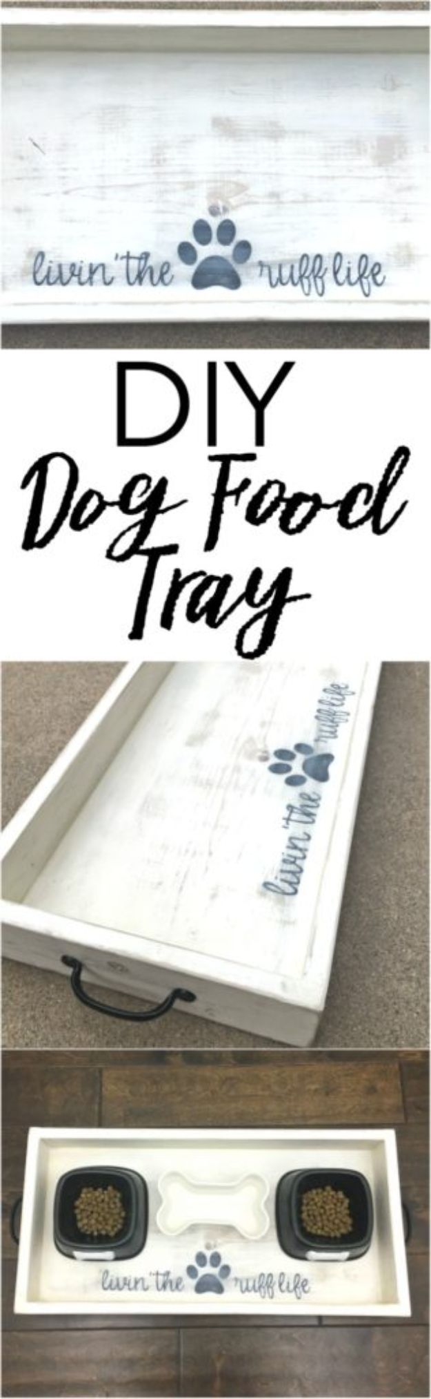 DIY Ideas With Dogs - Dog Food Wood Tray – DIY - Cute and Easy DIY Projects for Dog Lovers - Wall and Home Decor Projects, Things To Make and Sell on Etsy - Quick Gifts to Make for Friends Who Have Puppies and Doggies - Homemade No Sew Projects- Fun Jewelry, Cool Clothes and Accessories #dogs #crafts #diyideas