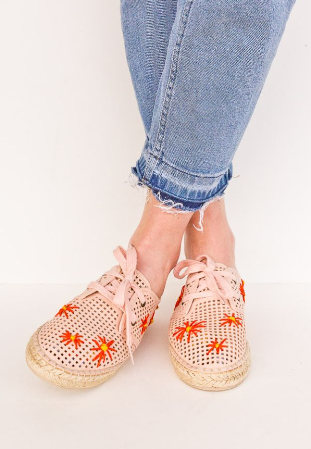 DIY Fashion for Spring - Embroidered Shoes - Easy Homemade Clothing Tutorials and Things To Make To Wear - Cute Patterns and Projects for Women to Make, T-Shirts, Skirts, Dresses, Shorts and Ideas for Jeans and Pants - Tops, Tanks and Tees With Free Tutorial Ideas and Instructions http://diyjoy.com/fashion-for-spring
