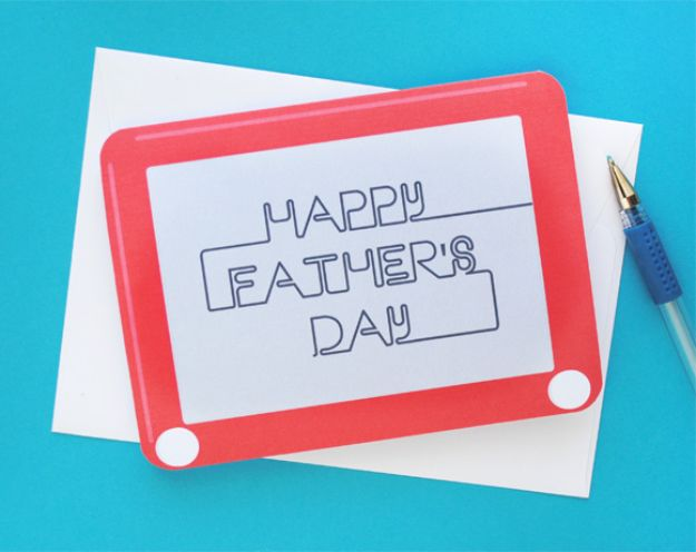 Best DIY Fathers Day Cards - Etch-A-Sketch Father's Day Card - Easy Card Projects to Make for Dad - Cute and Quick Things To Make For Your Father - Paper, Cardboard, Gift Card, Cool Ideas for Kids and Teens To Make - Funny, Thoughtful, Homemade Cards for Him http://diyjoy.com/diy-fathers-day-cards