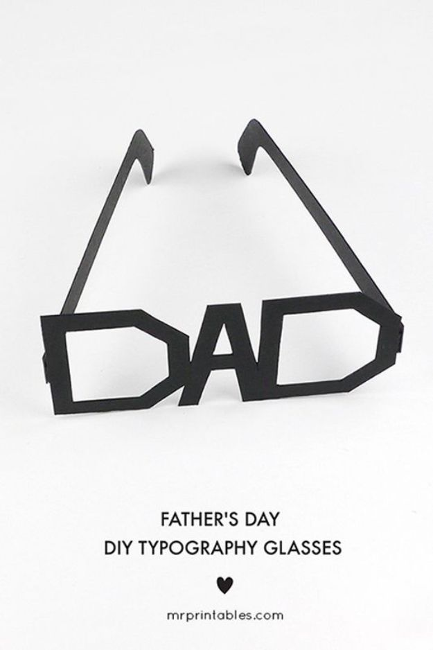 Best DIY Fathers Day Cards - Father's Day Typography Glasses Card - Easy Card Projects to Make for Dad - Cute and Quick Things To Make For Your Father - Paper, Cardboard, Gift Card, Cool Ideas for Kids and Teens To Make - Funny, Thoughtful, Homemade Cards for Him