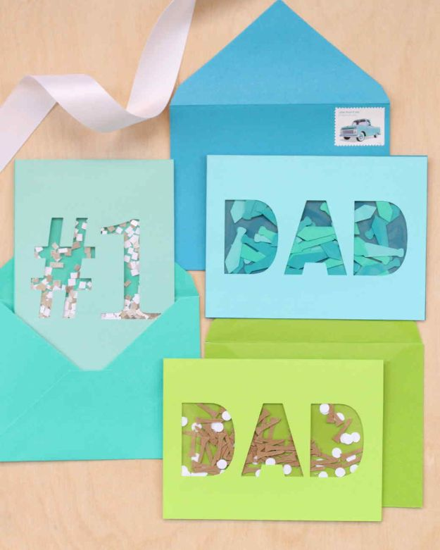 Best DIY Fathers Day Cards - Father's Day Confetti Cards - Easy Card Projects to Make for Dad - Cute and Quick Things To Make For Your Father - Paper, Cardboard, Gift Card, Cool Ideas for Kids and Teens To Make - Funny, Thoughtful, Homemade Cards for Him http://diyjoy.com/diy-fathers-day-cards
