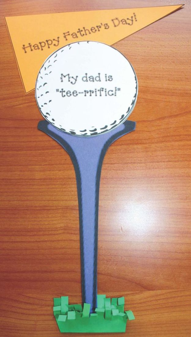 Best DIY Fathers Day Cards - Fathers Day Golf Tee Card - Easy Card Projects to Make for Dad - Cute and Quick Things To Make For Your Father - Paper, Cardboard, Gift Card, Cool Ideas for Kids and Teens To Make - Funny, Thoughtful, Homemade Cards for Him http://diyjoy.com/diy-fathers-day-cards