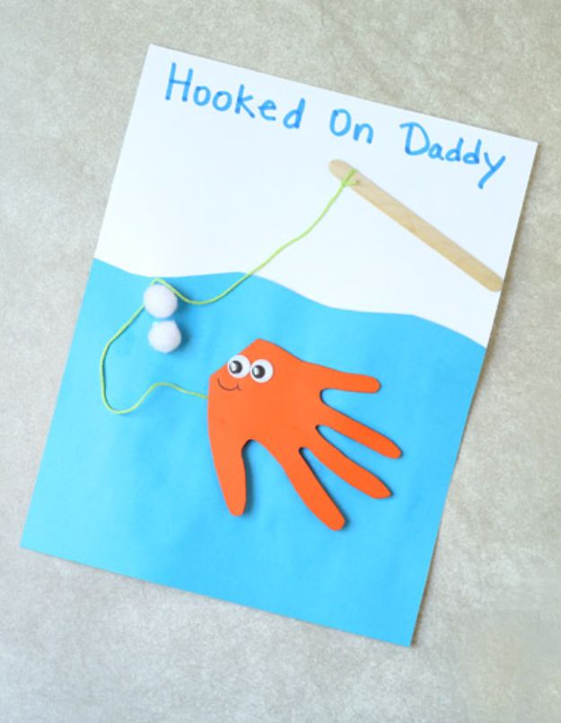 Best DIY Fathers Day Cards - Fish Handprint Card - Easy Card Projects to Make for Dad - Cute and Quick Things To Make For Your Father - Paper, Cardboard, Gift Card, Cool Ideas for Kids and Teens To Make - Funny, Thoughtful, Homemade Cards for Him http://diyjoy.com/diy-fathers-day-cards
