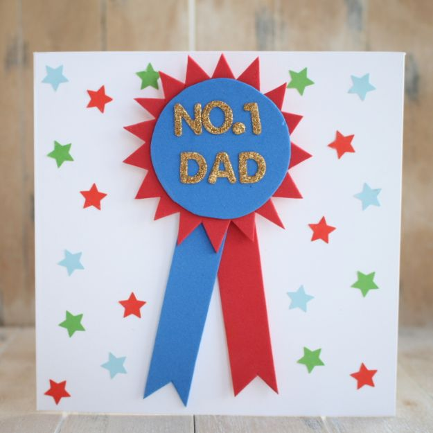 Best DIY Fathers Day Cards - Foam Rosette Card - Easy Card Projects to Make for Dad - Cute and Quick Things To Make For Your Father - Paper, Cardboard, Gift Card, Cool Ideas for Kids and Teens To Make - Funny, Thoughtful, Homemade Cards for Him http://diyjoy.com/diy-fathers-day-cards