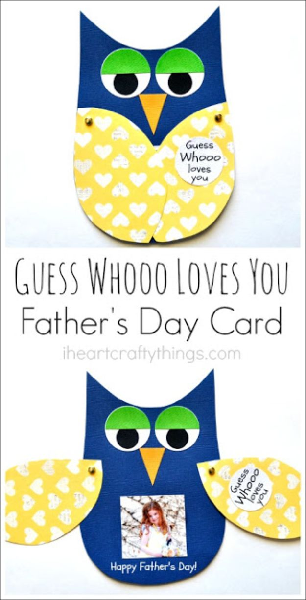 Best DIY Fathers Day Cards - Guess Whooo Loves You Father's Day Card - Easy Card Projects to Make for Dad - Cute and Quick Things To Make For Your Father - Paper, Cardboard, Gift Card, Cool Ideas for Kids and Teens To Make - Funny, Thoughtful, Homemade Cards for Him http://diyjoy.com/diy-fathers-day-cards