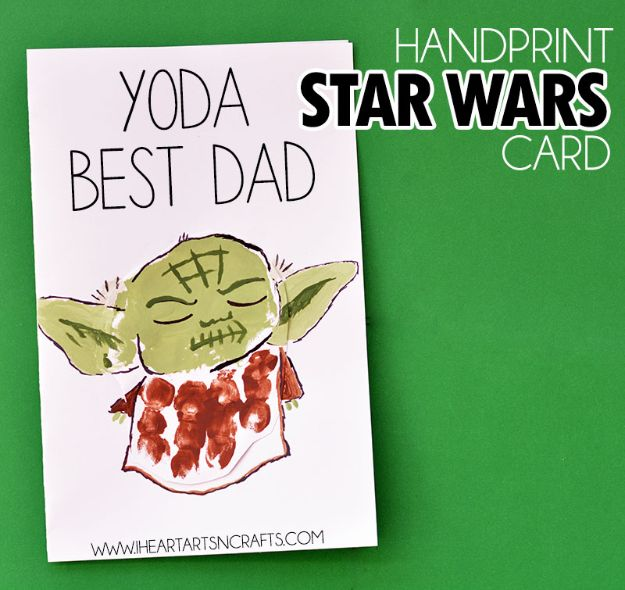 Best DIY Fathers Day Cards - Handprint Yoda Father's Day Card - Easy Card Projects to Make for Dad - Cute and Quick Things To Make For Your Father - Paper, Cardboard, Gift Card, Cool Ideas for Kids and Teens To Make - Funny, Thoughtful, Homemade Cards for Him http://diyjoy.com/diy-fathers-day-cards