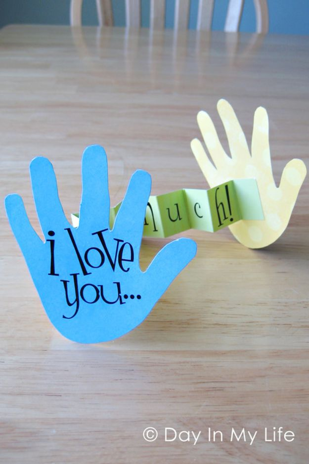 Best DIY Fathers Day Cards - I Love You This Much Card - Easy Card Projects to Make for Dad - Cute and Quick Things To Make For Your Father - Paper, Cardboard, Gift Card, Cool Ideas for Kids and Teens To Make - Funny, Thoughtful, Homemade Cards for Him http://diyjoy.com/diy-fathers-day-cards