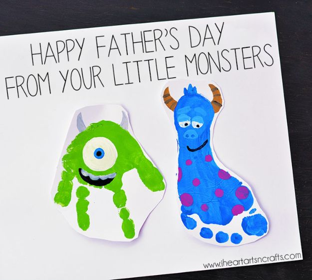 Best DIY Fathers Day Cards - Little Monsters Father's Day Card - Easy Card Projects to Make for Dad - Cute and Quick Things To Make For Your Father - Paper, Cardboard, Gift Card, Cool Ideas for Kids and Teens To Make - Funny, Thoughtful, Homemade Cards for Him http://diyjoy.com/diy-fathers-day-cards