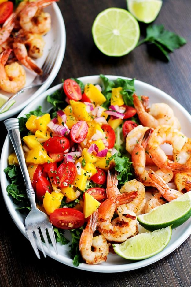 Summer Salad Recipes - Mango and Shrimp Salad - Easy Salads to Make for Summer Dinners, Picnic, Barbecue and Take To Work Lunches - Grilled Foods, Fruits, Chicken, Tuna and and Shrimp Salad - Healthy Meals on A Budget - Vegetarian and Vegan Recipe Ideas - Homemade Salad Dressings and Fresh Ingredients make the Best Salads #salads #saladrecipes #lunchrecipes #recipes #summer http://diyjoy.com/summer-salad-recipes