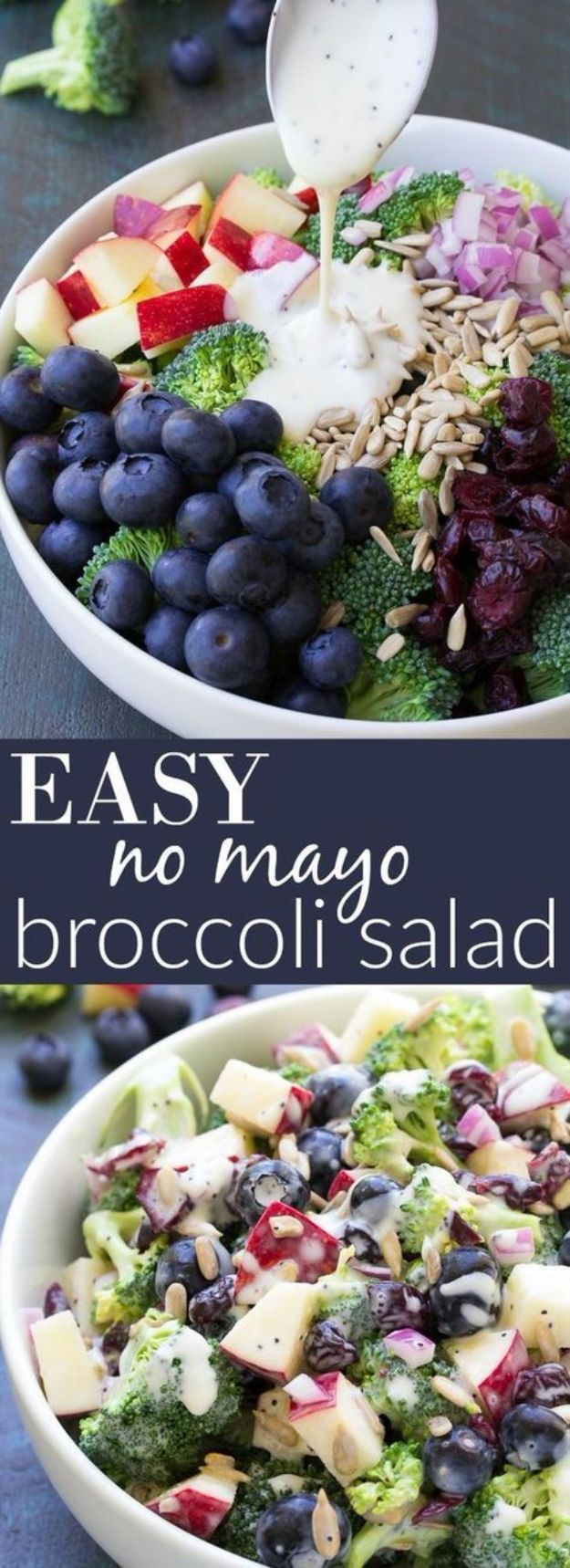 Summer Salad Recipes - No Mayo Broccoli Salad with Blueberries and Apple - Easy Salads to Make for Summer Dinners, Picnic, Barbecue and Take To Work Lunches - Grilled Foods, Fruits, Chicken, Tuna and and Shrimp Salad - Healthy Meals on A Budget - Vegetarian and Vegan Recipe Ideas - Homemade Salad Dressings and Fresh Ingredients make the Best Salads #salads #saladrecipes #lunchrecipes #recipes #summer http://diyjoy.com/summer-salad-recipes