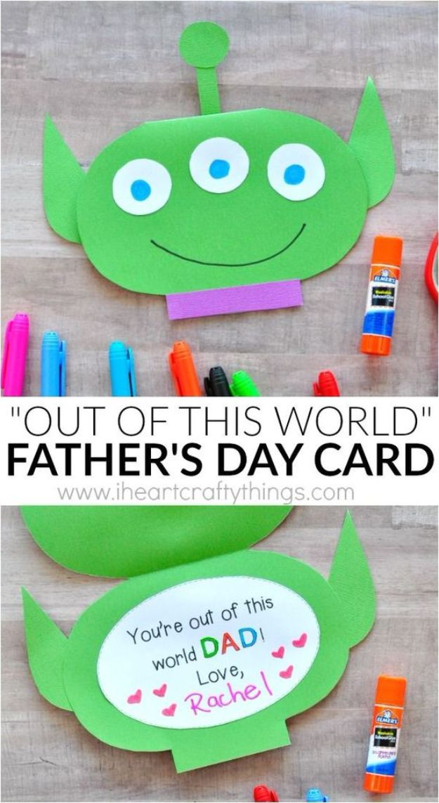 Best DIY Fathers Day Cards - Out of this World Father's Day Card - Easy Card Projects to Make for Dad - Cute and Quick Things To Make For Your Father - Paper, Cardboard, Gift Card, Cool Ideas for Kids and Teens To Make - Funny, Thoughtful, Homemade Cards for Him http://diyjoy.com/diy-fathers-day-cards
