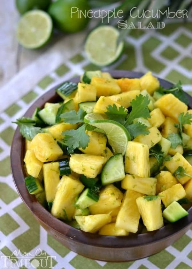 Summer Salad Recipes - Pineapple Cucumber Salad - Easy Salads to Make for Summer Dinners, Picnic, Barbecue and Take To Work Lunches - Grilled Foods, Fruits, Chicken, Tuna and and Shrimp Salad - Healthy Meals on A Budget - Vegetarian and Vegan Recipe Ideas - Homemade Salad Dressings and Fresh Ingredients make the Best Salads #salads #saladrecipes #lunchrecipes #recipes #summer http://diyjoy.com/summer-salad-recipes
