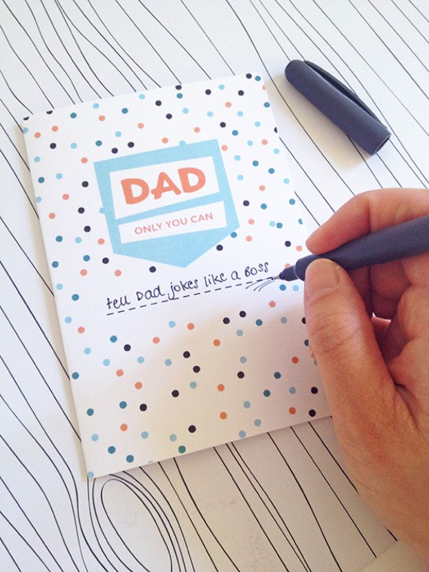 Best DIY Fathers Day Cards - Printable Fill in the Blank Father's Day Card - Easy Card Projects to Make for Dad - Cute and Quick Things To Make For Your Father - Paper, Cardboard, Gift Card, Cool Ideas for Kids and Teens To Make - Funny, Thoughtful, Homemade Cards for Him http://diyjoy.com/diy-fathers-day-cards