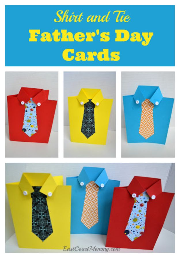 Best DIY Fathers Day Cards - Shirt and Tie Father's Day Card - Easy Card Projects to Make for Dad - Cute and Quick Things To Make For Your Father - Paper, Cardboard, Gift Card, Cool Ideas for Kids and Teens To Make - Funny, Thoughtful, Homemade Cards for Him http://diyjoy.com/diy-fathers-day-cards