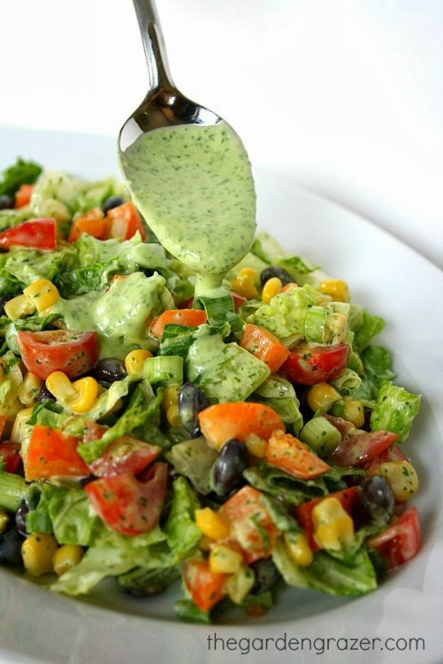 Summer Salad Recipes - Southwestern Chopped Salad with Cilantro Dressing - Easy Salads to Make for Summer Dinners, Picnic, Barbecue and Take To Work Lunches - Grilled Foods, Fruits, Chicken, Tuna and and Shrimp Salad - Healthy Meals on A Budget - Vegetarian and Vegan Recipe Ideas - Homemade Salad Dressings and Fresh Ingredients make the Best Salads #salads #saladrecipes #lunchrecipes #recipes #summe