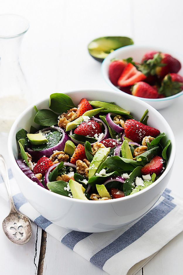 Summer Salad Recipes -Strawberry Avocado Spinach Salad - Easy Salads to Make for Summer Dinners, Picnic, Barbecue and Take To Work Lunches - Grilled Foods, Fruits, Chicken, Tuna and and Shrimp Salad - Healthy Meals on A Budget - Vegetarian and Vegan Recipe Ideas - Homemade Salad Dressings and Fresh Ingredients make the Best Salads #salads #saladrecipes #lunchrecipes #recipes #summe