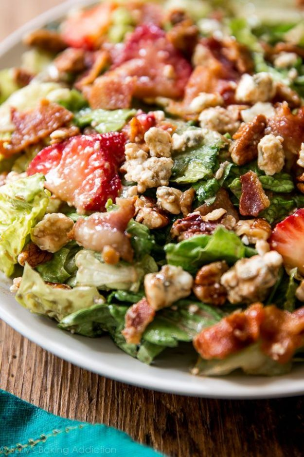 Summer Salad Recipes - Strawberry Bacon Salad - Easy Salads to Make for Summer Dinners, Picnic, Barbecue and Take To Work Lunches - Grilled Foods, Fruits, Chicken, Tuna and and Shrimp Salad - Healthy Meals on A Budget - Vegetarian and Vegan Recipe Ideas - Homemade Salad Dressings and Fresh Ingredients make the Best Salads #salads #saladrecipes #lunchrecipes #recipes #summe