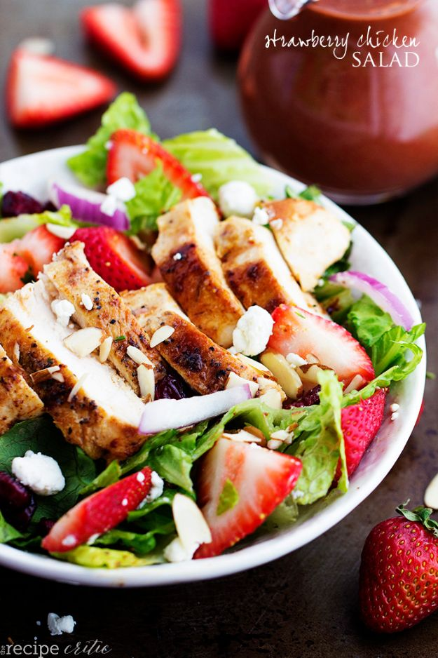 Summer Salad Recipes - Strawberry Chicken Salad- Easy Salads to Make for Summer Dinners, Picnic, Barbecue and Take To Work Lunches - Grilled Foods, Fruits, Chicken, Tuna and and Shrimp Salad - Healthy Meals on A Budget - Vegetarian and Vegan Recipe Ideas - Homemade Salad Dressings and Fresh Ingredients make the Best Salads #salads #saladrecipes #lunchrecipes #recipes #summe