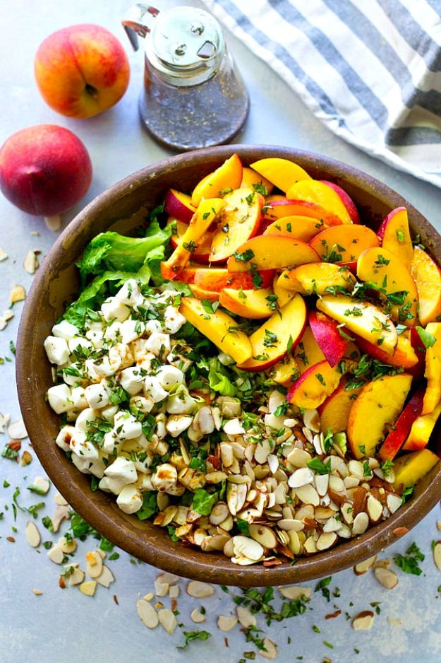 Summer Salad Recipes - Summer Peach Balsamic Caprese Salad - Easy Salads to Make for Summer Dinners, Picnic, Barbecue and Take To Work Lunches - Grilled Foods, Fruits, Chicken, Tuna and and Shrimp Salad - Healthy Meals on A Budget - Vegetarian and Vegan Recipe Ideas - Homemade Salad Dressings and Fresh Ingredients make the Best Salads #salads #saladrecipes #lunchrecipes #recipes #summe