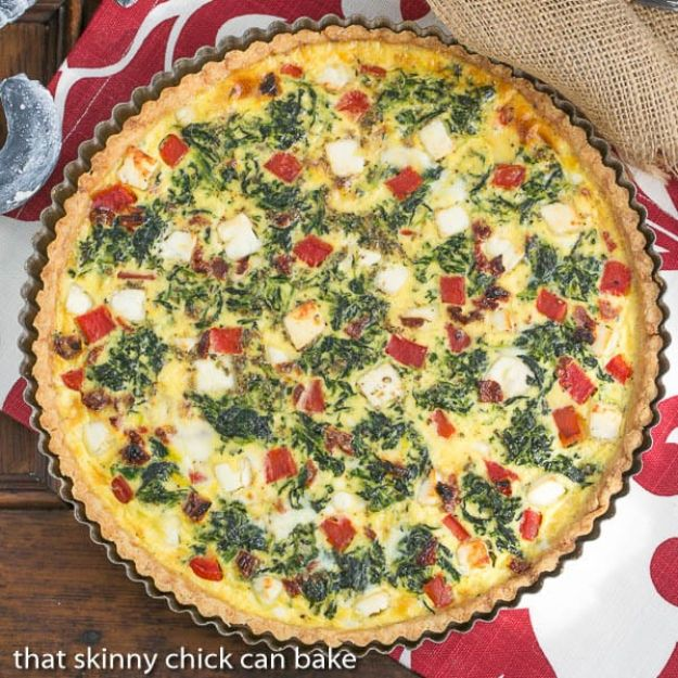 Best Lowfat Recipes - Sun-dried Tomato and Spinach Quiche - Easy Low fat and Healthy Recipe Ideas For Eating Well and Dieting, Weight Loss - Quick Breakfasts, Lunch, Dinner, Snack and Desserts - Foods with Chicken, Vegetables, Salad, Low Carb, Beef, Egg, Gluten Free http://diyjoy.com/best-lowfat-recipes