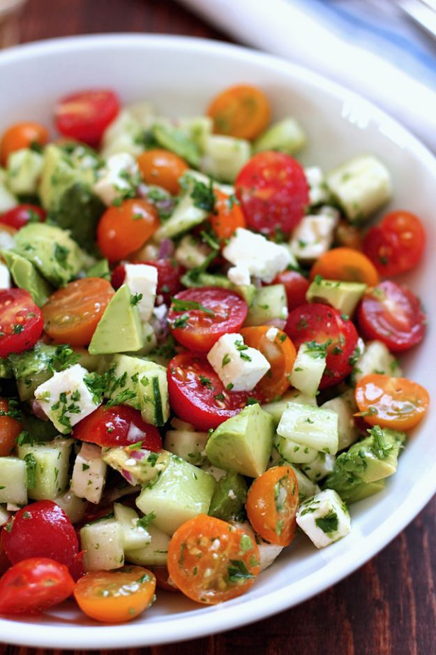 Summer Salad Recipes - Tomato, Cucumber, Avocado Salad - Easy Salads to Make for Summer Dinners, Picnic, Barbecue and Take To Work Lunches - Grilled Foods, Fruits, Chicken, Tuna and and Shrimp Salad - Healthy Meals on A Budget - Vegetarian and Vegan Recipe Ideas - Homemade Salad Dressings and Fresh Ingredients make the Best Salads #salads #saladrecipes #lunchrecipes #recipes #summer http://diyjoy.com/summer-salad-recipes