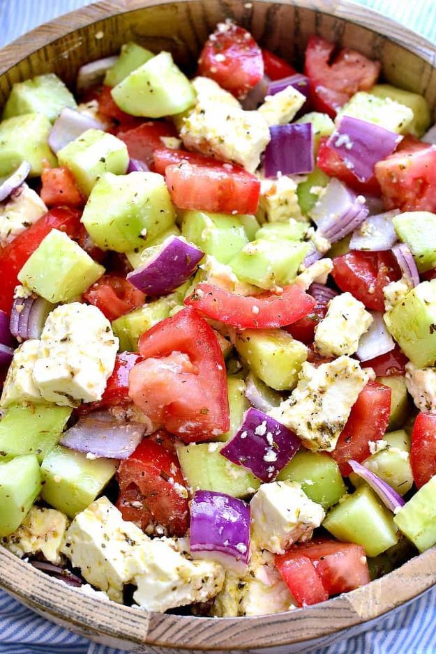 Summer Salad Recipes - Tomato Cucumber Feta Salad - Easy Salads to Make for Summer Dinners, Picnic, Barbecue and Take To Work Lunches - Grilled Foods, Fruits, Chicken, Tuna and and Shrimp Salad - Healthy Meals on A Budget - Vegetarian and Vegan Recipe Ideas - Homemade Salad Dressings and Fresh Ingredients make the Best Salads #salads #saladrecipes #lunchrecipes #recipes #summe