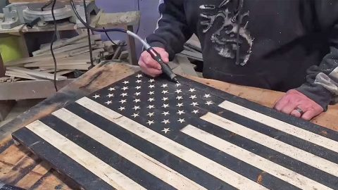 You Can Make This Antiqued Wood American Flag In 5 Easy Steps | DIY Joy Projects and Crafts Ideas