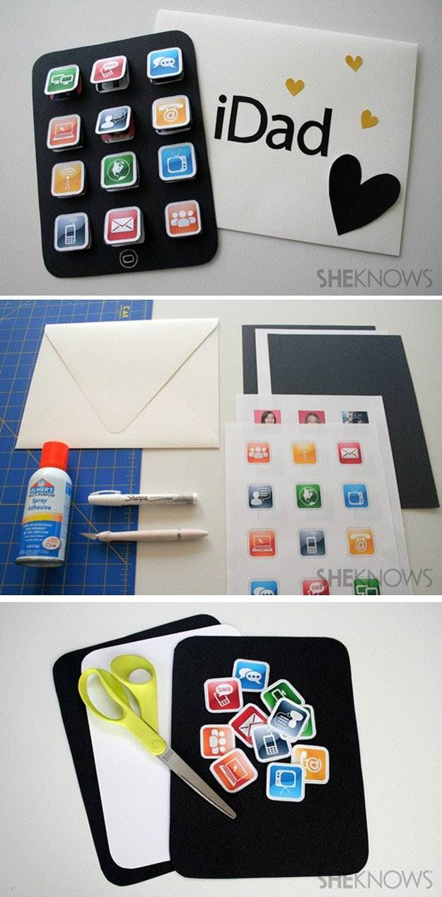 Best DIY Fathers Day Cards - iDad Card - Easy Card Projects to Make for Dad - Cute and Quick Things To Make For Your Father - Paper, Cardboard, Gift Card, Cool Ideas for Kids and Teens To Make - Funny, Thoughtful, Homemade Cards for Him http://diyjoy.com/diy-fathers-day-cards