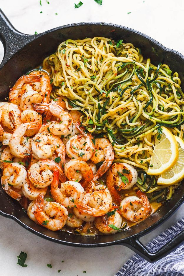 Shrimp Recipes - 10-Minute Lemon Garlic Butter Shrimp with Zucchini Noodles - Healthy, Easy Recipe Ideas for Dinner Using Shrimp - Grilled, Creamy Baked Pasta, Fried, Spicy Asian Style, Mexican, Sauteed Garlic