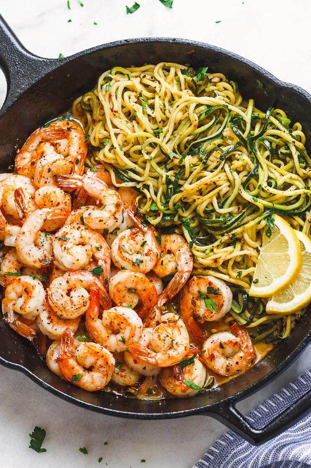 Easy and Quick Shrimp Recipes - 10-Minute Lemon Garlic Butter Shrimp with Zucchini Noodles - Low Carb Shrimp Recipe