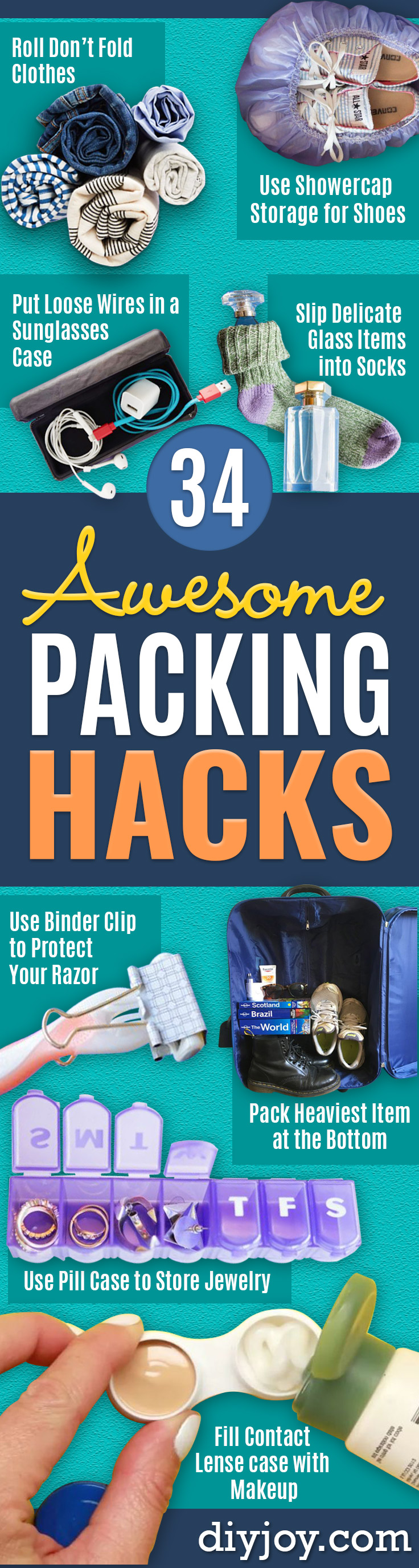 Packing Hacks for Travel - How to Pack and Fold Clothes, Save Space in Suitcase - Tips and Tricks for Shoes, Makeup, Toiletries, Carry On Luggage for Trips