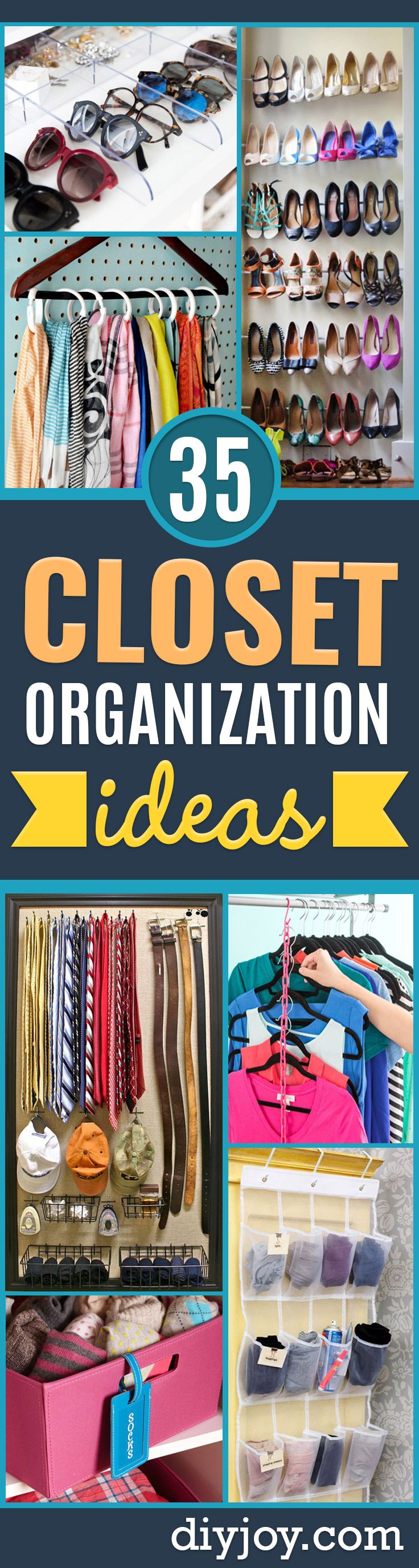 Closet Organization Ideas - DIY Closet Organizing Tutorials - Hacks, Tips and Tricks for Closets With Storage, Shoe Racks, Small Space Idea - Projects for Bedroom, Kids, Master, Walk in