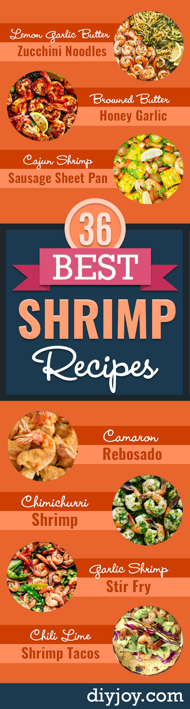 Shrimp Recipes - Healthy, Easy Recipe Ideas for Dinner Using Shrimp - Grilled, Creamy Baked Pasta, Fried, Spicy Asian Style, Mexican, Sauteed Garlic