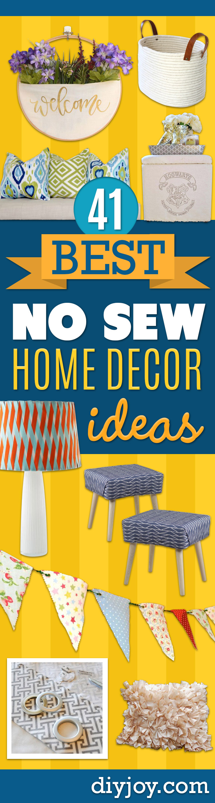 No Sew DIY Home Decor Ideas - Easy No Sew Projects to Make for Bedroom,. Kitchen, Bath - Crafts to Make and Sell, Blankets, No Sewing Project Ideas