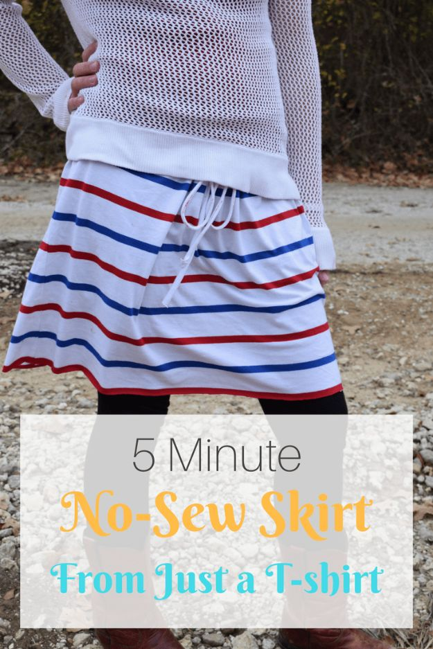 No Sew DIY Fashion Ideas - 5 Minute No-Sew DIY T-Shirt Skirt - Easy No Sew Projects to Make for Clothes, Shirts, Jeans, Pants, Skirts, Kids Clothing No Sewing Project Ideas