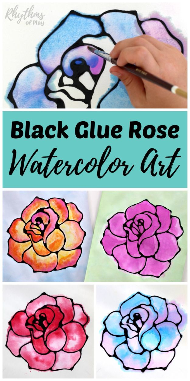 How To Paint Flowers - Black Glue Rose Watercolor Resist Art Project - Step by Step Tutorials for Painting Roses, Daisies, Whimsical and Abstract Floral Techniques - Easy Acrylic Flower Tutorial for Beginners - Paint on Wood, Canvas, On Wasll, Rocks, Fabric and Paper - Step by Step Instructions and How To #painting #diy
