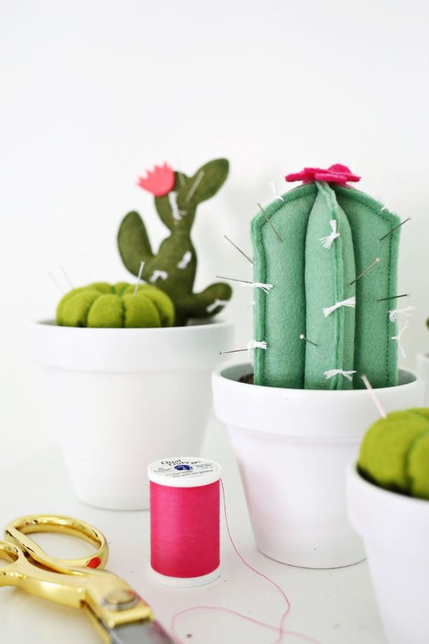 Crafts To Make and Sell - Cactus Pincushion DIY - 75 MORE Easy DIY Ideas for Cheap Things To Sell on Etsy, Online and for Craft Fairs. Make Money with crafts to sell ideas #crafts