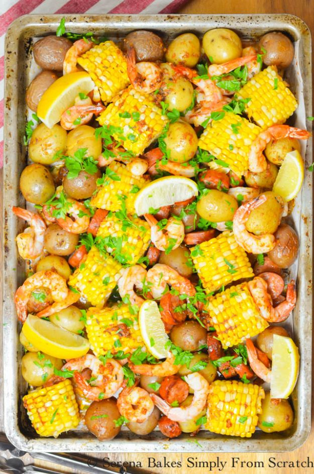 Shrimp Recipes - Cajun Shrimp Sausage Sheet Pan - Healthy, Easy Recipe Ideas for Dinner Using Shrimp - Grilled, Creamy Baked Pasta, Fried, Spicy Asian Style, Mexican, Sauteed Garlic
