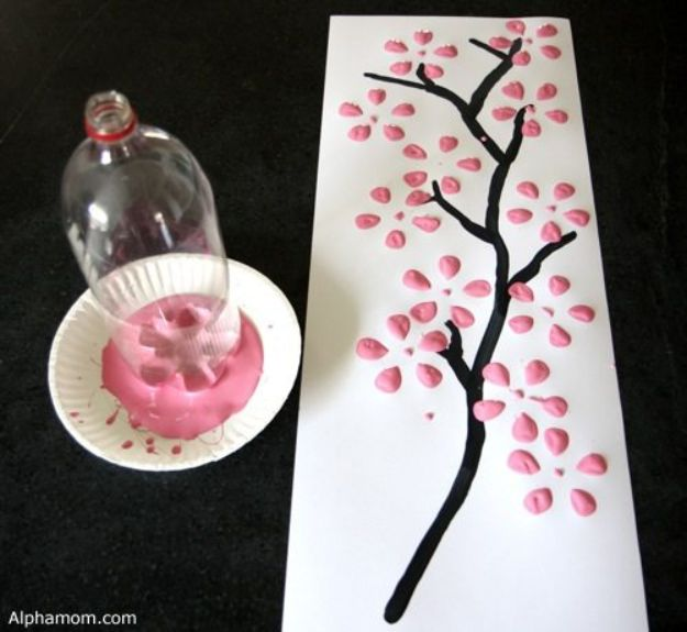 How To Paint Flowers - Cherry Blossom Art from A Recycled Soda Bottle - Step by Step Tutorials for Painting Roses, Daisies, Whimsical and Abstract Floral Techniques - Easy Acrylic Flower Tutorial for Beginners - Paint on Wood, Canvas, On Wasll, Rocks, Fabric and Paper - Step by Step Instructions and How To #painting #diy