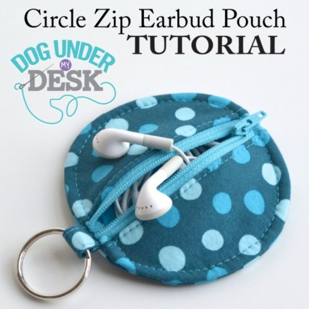 Crafts To Make and Sell - Circle Zip Earbud Pouch - 75 MORE Easy DIY Ideas for Cheap Things To Sell on Etsy, Online and for Craft Fairs. Make Money with crafts to sell ideas #crafts