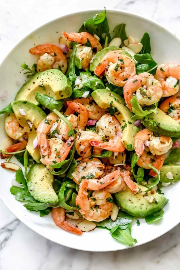 Shrimp Recipes - Citrus Shrimp and Avocado Salad - Healthy, Easy Recipe Ideas for Dinner Using Shrimp - Grilled, Creamy Baked Pasta, Fried, Spicy Asian Style, Mexican, Sauteed Garlic