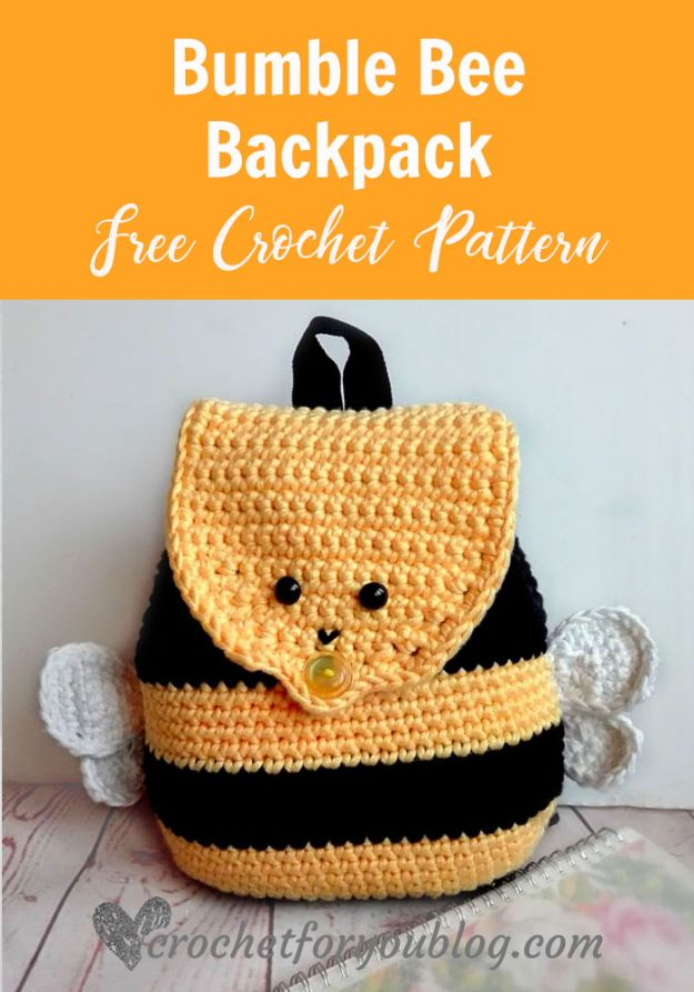Crafts To Make and Sell - Crochet Bumblebee Backpack - 75 MORE Easy DIY Ideas for Cheap Things To Sell on Etsy, Online and for Craft Fairs. Make Money with crafts to sell ideas #crafts