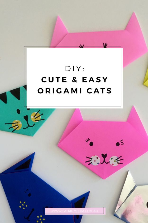 Japanese DIY Ideas and Crafts Inspired by Japan - Cute And Easy Origami Cats - Boxes, Home Decorations, Room Decor, Fashion, Jewelry Tutorials, Wall Art and Gifts