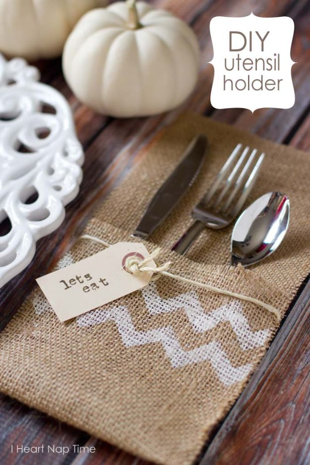 No Sew DIY Home Decor Ideas - DIY Burlap Utensil Holder - Easy No Sew Projects to Make for Bedroom,. Kitchen, Bath - Crafts to Make and Sell, Blankets, No Sewing Project Ideas #nosew #diydecor #diygifts #homedecor