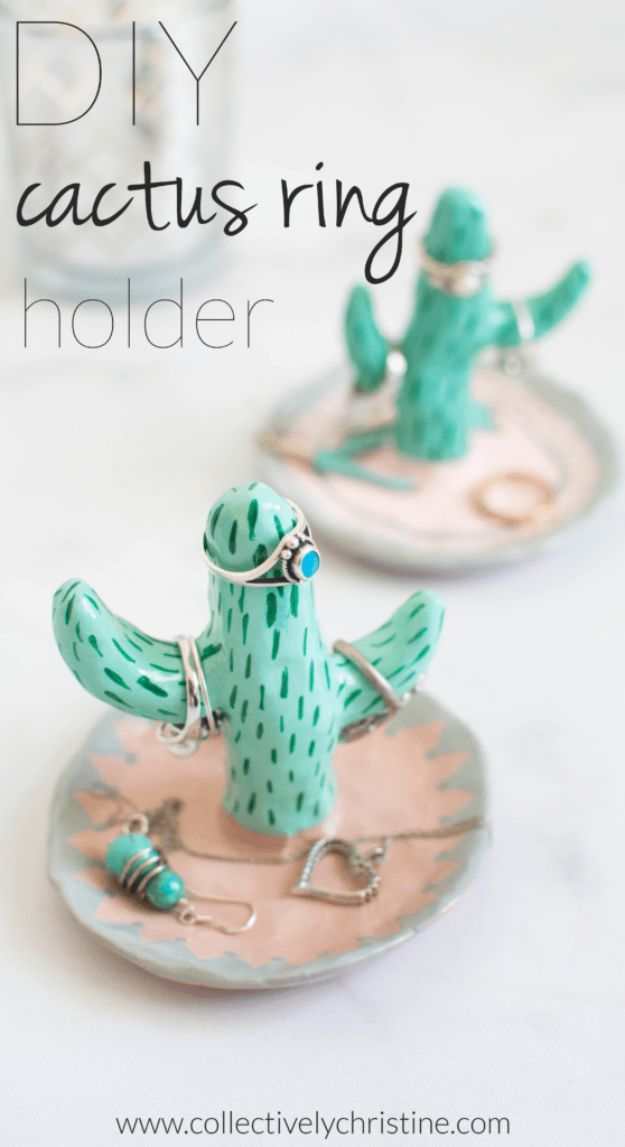 Jewelry Crafts To Make and Sell - DIY Cactus Ring Holder Stand - Cactus Craft Projects - Jewelry Storage and Organization Ideas - Top Things To Sell for Money and Profit on Etsy Shop