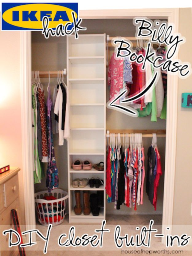 Closet Organization Ideas - DIY Closet Built-Ins - DIY Closet Organizing Tutorials - Hacks, Tips and Tricks for Closets With Storage, Shoe Racks, Small Space Idea - Projects for Bedroom, Kids, Master, Walk in