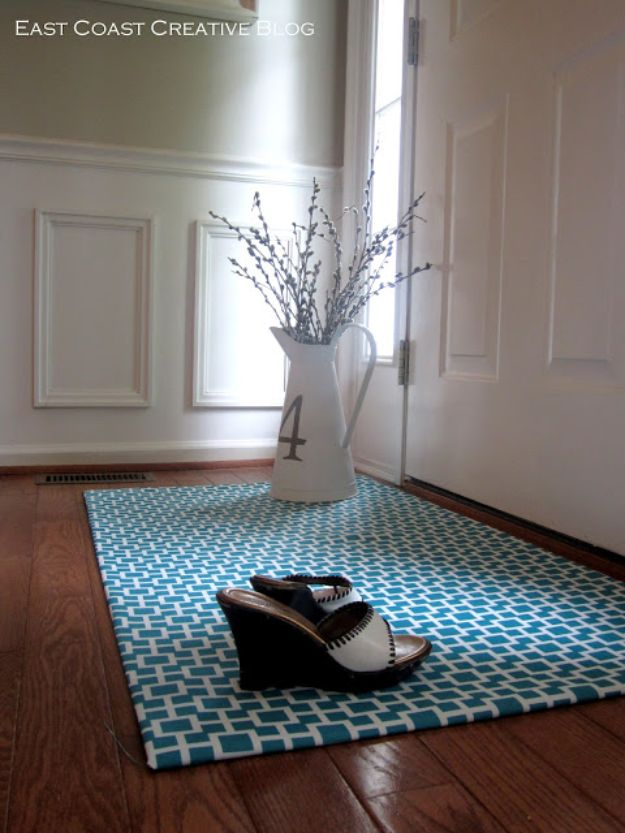 No Sew DIY Home Decor Ideas - DIY Fabric Floorcloth - Easy No Sew Projects to Make for Bedroom,. Kitchen, Bath - Crafts to Make and Sell, Blankets, No Sewing Project Ideas #nosew #diydecor #diygifts #homedecor