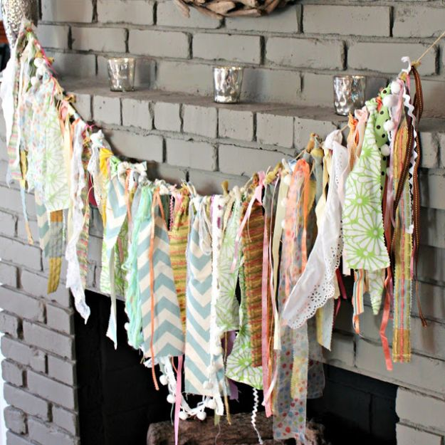 No Sew DIY Home Decor Ideas - DIY Fabric Garland - Easy No Sew Projects to Make for Bedroom,. Kitchen, Bath - Crafts to Make and Sell, Blankets, No Sewing Project Ideas #nosew #diydecor #diygifts #homedecor