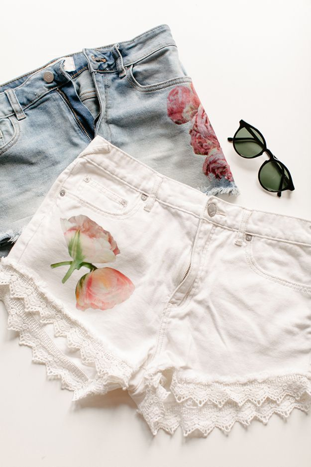 Cool Photo Transfer Projects - Creative DIY Clothes to Make - Fun Teen Fashion Ideas - How to Make DIY Flower Photo Transfer Shorts